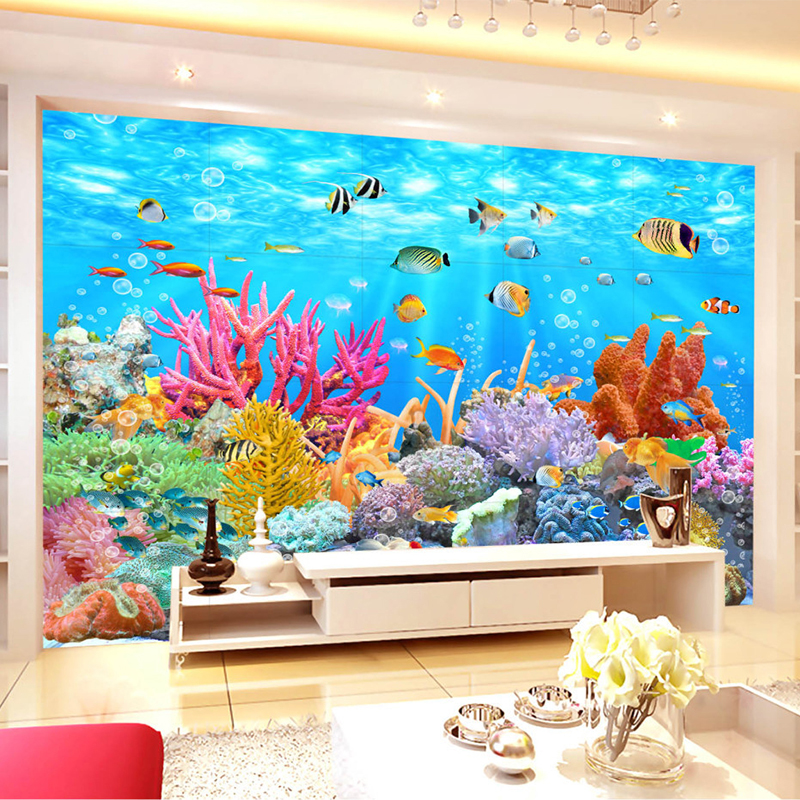 Custom 3D Mural Wall Paper Coral Seabed World Background Wall Murales De Pared 3D Room Wallpaper Landscape For Kids' Room Murals