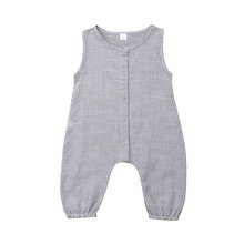 5Colors Newborn Baby Boys Girls Cotton Sleeveless Solid Color Button Romper Jumpsuit Sunsuit New Fashion Summer Cute Clothing