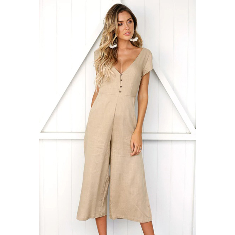 Sexy Deep V Neck Backless Jumpsuit Short Sleeve Solid Causal Elegant Women Jumpsuit Loose Full Length Button jumpsuit women