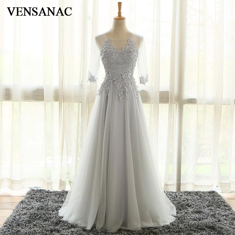 VENSANAC O Neck Appliques 2018 A Line Long   Evening     Dresses   Elegant Lace Half Sleeve Backless Party Prom Gowns