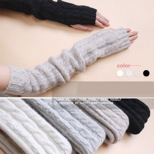 Rabbit wool arm sleeve  Super long pattern knitted gloves