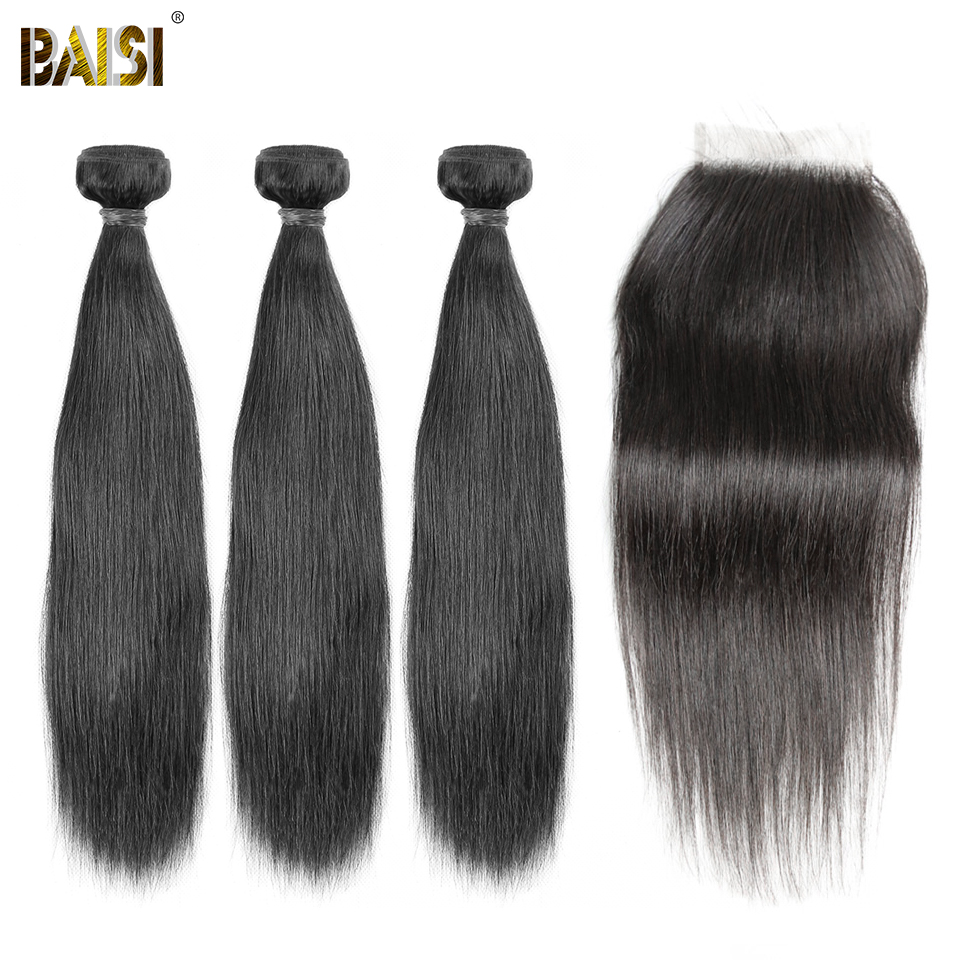 BAISI Hair Brazilian 8A Virgin Hair Weave Straight Hair Weave 3 Bundles with Lace Closure 100