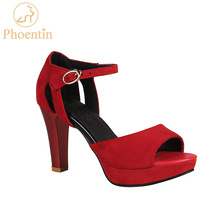 Czerwony peep toe sandały na platformie sandały damskie 2020 lato czerwona szpilki z paskami szpilki z kolcami buty w dużych rozmiarach kobieta FT631