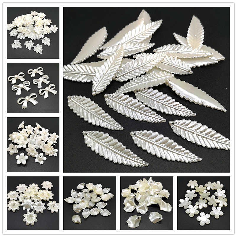20pcs Jewelry Accessories Acrylic Beads Ivory Pearl Beads Loose Hole Beads Jewelry Accessories Beads Jewelry Making DIY