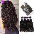 7A Brazilian Deep Wave With Closure 3 bundles Brazilian Virgin Hair With 1 Lace Closure Cheap Brazilian Deep Curly Hair Closure