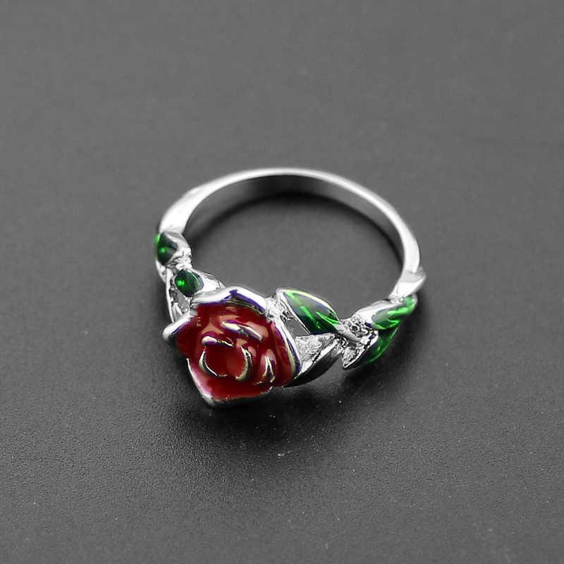 2017 ความงามและ beast Rose แหวนต้นไม้ Rose ออกแบบแหวนหมั้นสีแดงสีเขียวเคลือบเครื่องประดับความงาม/เธอ beast Jewel