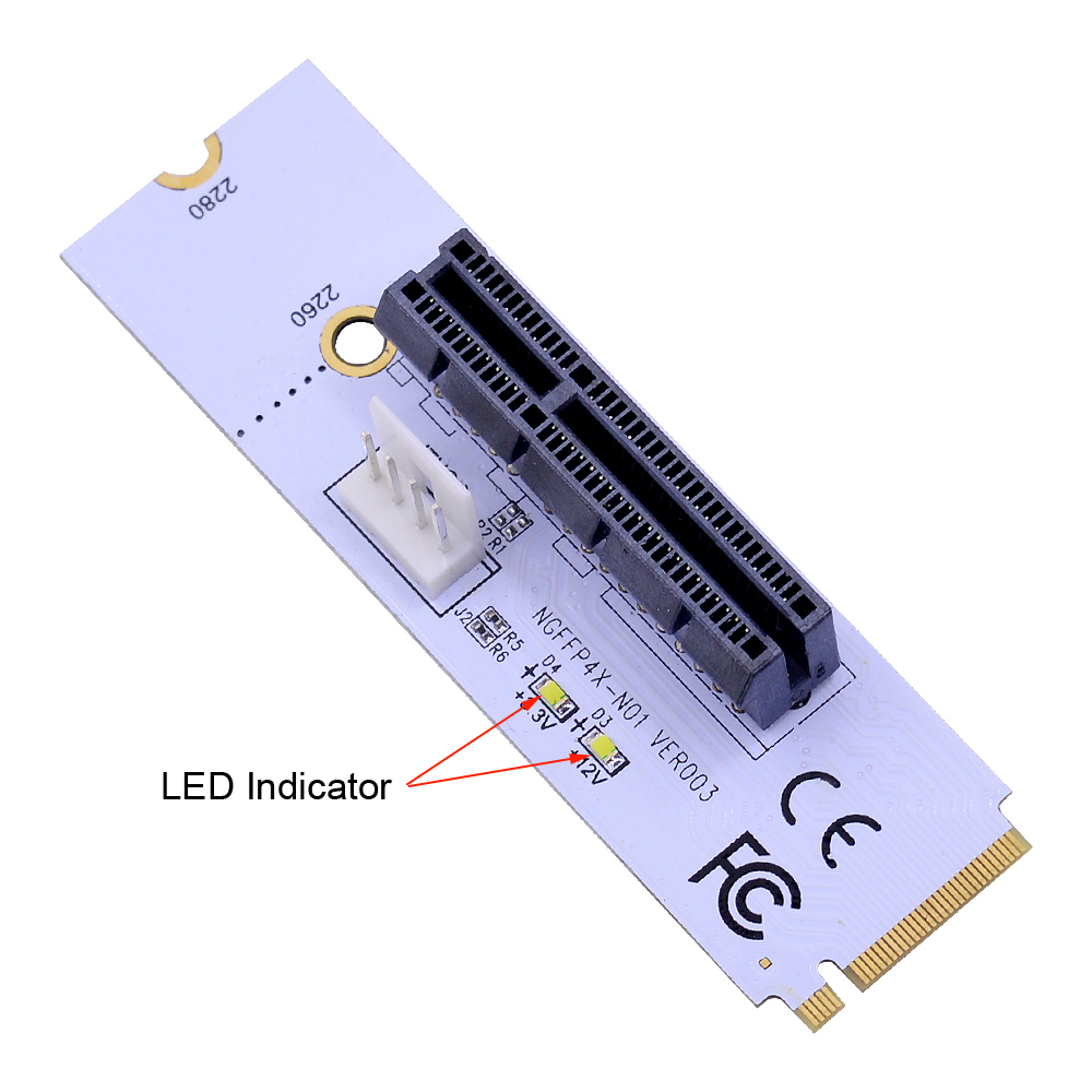 Image 3 - CHIPAL NGFF M.2 to PCI E 4X Riser Card M2 Key M to PCIe X4 Adapter with LED Voltage indicator for ETH Bitcoin Miner Mining-in Computer Cables & Connectors from Computer & Office