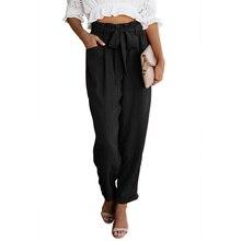 дешево!  Женские повседневные широкие брюки длиной до лодыжки 2019 Высокая эластичная талия ПР Формальные брю �