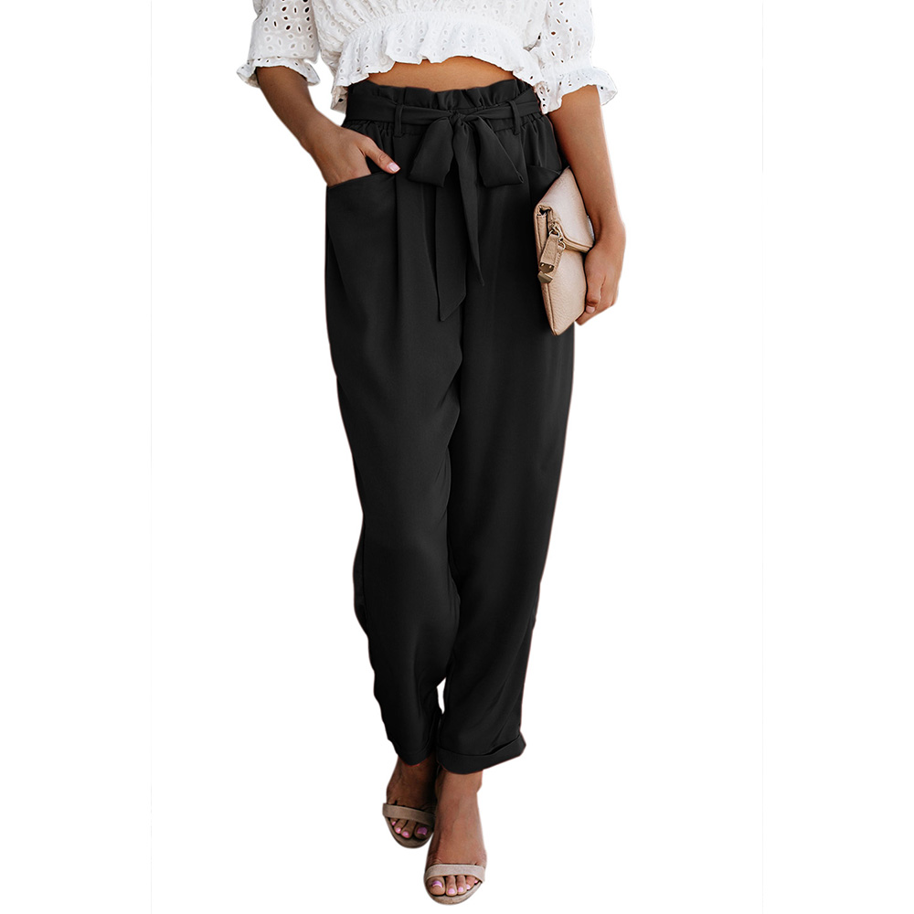 Women Casual Wide Leg Ankle-Length   Pants   2019 High Elastic Waist OL Formal Trousers Solid Office Lady Loose Stretch   Pants     Capris