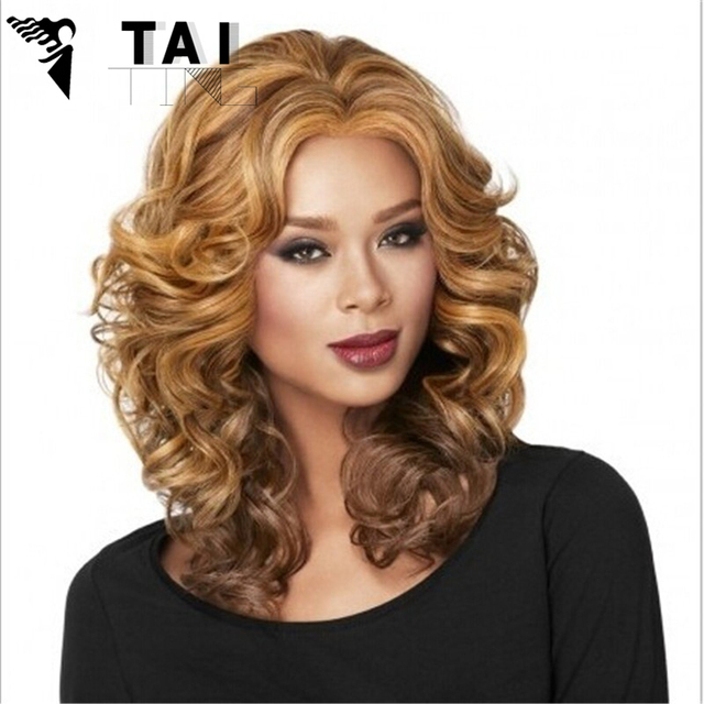 New Synthetic Lace Front Hair Wig Women Long Curly Highlight Body Wavy Synthetic Wigs Realistic Kanekalon Heat Resistant Female