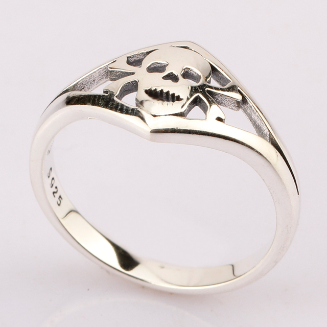 ORIGINAL 925 STERLING SILVER SYMPLE STYLE SKULL RINGS