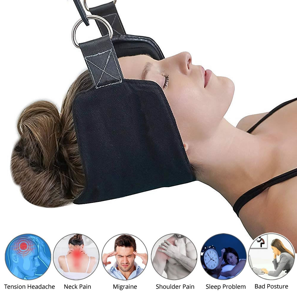 Cuello nervios presión tensión dolores de cabeza de alivio del dolor masajeador cabeza hamaca dispositivo de tracción Cervical postura Alineación de apoyo