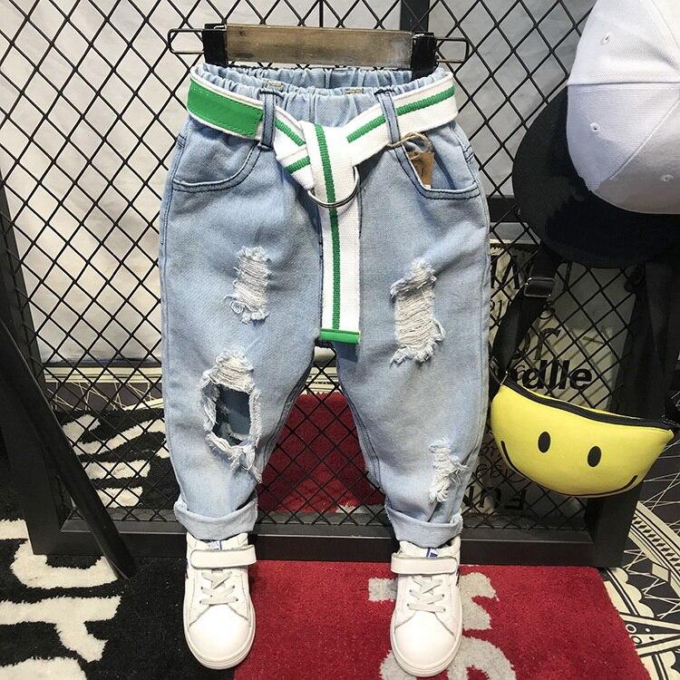 Children Broken Hole Pants Trousers 2018 Baby Boys Jeans Brand Fashion Autumn 2-6Yearrs Kids Trousers Children Clothing(No Belt)