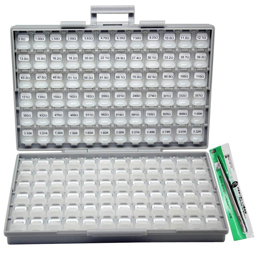 SMD 0201 RoHS 1% 144 valeur x 100 pièces kit de résistance boîte distribuée-tout l'organisateur R02E24100 assorti
