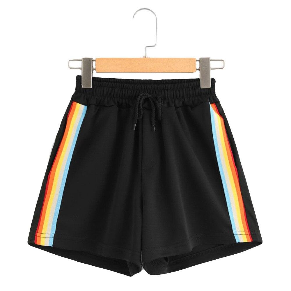 Womail Women Short Summer Striped Mid Waist Loose Shorts Drawstring Waist Ringer  Shorts Cotton Casual Mujer Verano Dropship J22