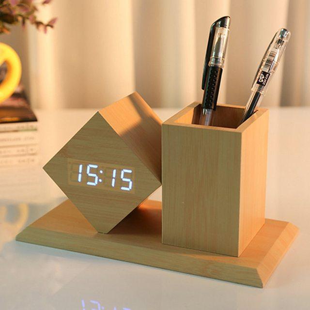 LED Alarm Clock Equiped with Pen Case Digital Mute Clock Despertador Temperature Sounds Control LED Display Desktop Table Clocks