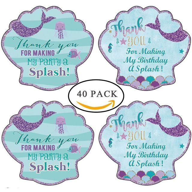 40pcs Mermaid Sticker Party Favors Happy Birthday Wedding Invitation