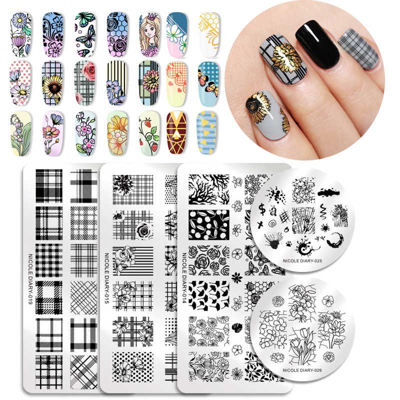 NICOLE DIARY Nail Stamping Plates Rectangle Round Flower Grid Plaid Geometric Image Print Stencil Nail Template for Polish Gel