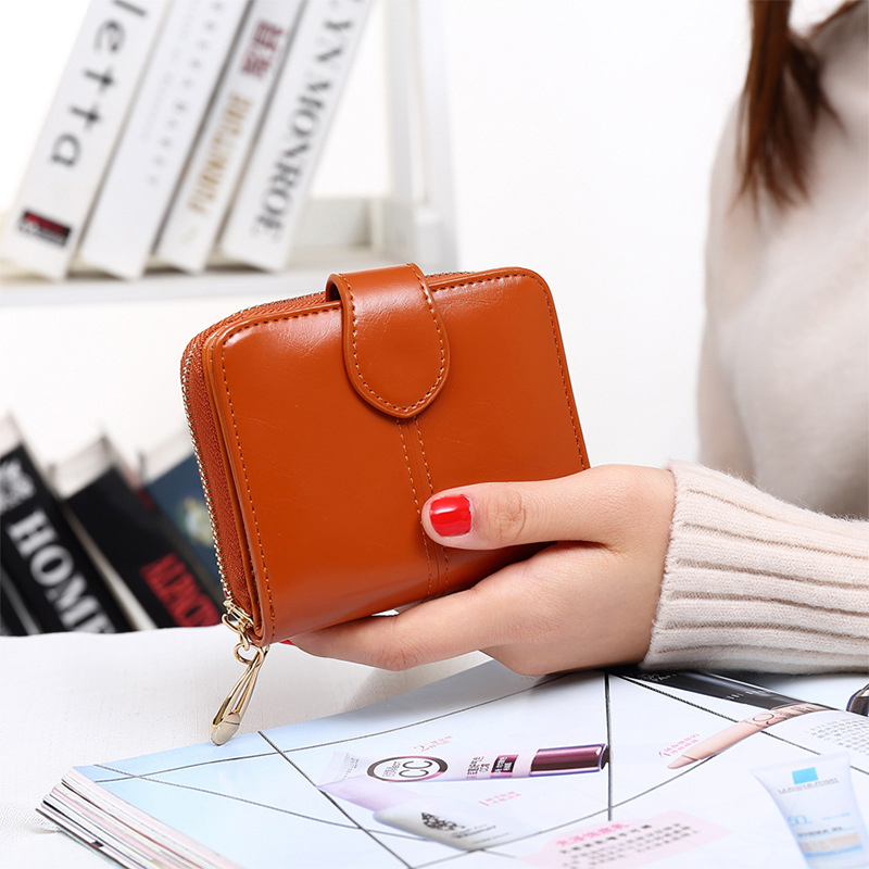 Wallet For Women Split Leather Female Short Wallet Purse Zipper Coin Purse Mini Walet Fashion Porte Monnaie Femme women coin purses short coin bag female small purse patent leather clutch wallet ladies mini purse card holders porte monnaie