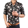 2016 Горячая Продажа мужская Повседневная С Длинным Рукавом Цветочный Узор Рубашка 14 Цветов Размер M-XXXL