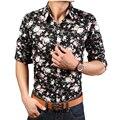 2016 Venta Caliente de Los Hombres de Manga Larga Camisa de Estampado de Flores Ocasional 14 Colores Tamaño M-XXXL