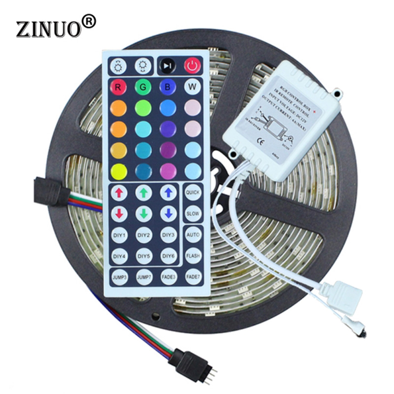 ZINUO Waterproof LED Strip Light RGB 5050 5M 150LEDS + 44 Key IR Remote Controller LED Diode Tape Ribbon Light Outdoor Lighting 5050 ip20 rgb led strip dc12v diode tape light with wireless wifi mini controller smart control 44 key ir remote controller