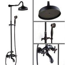 Two Cross Handles Luxury Bathroom Rain Shower Faucet Set Black Oil Rubbed Bronze Bath Tub Tap Handheld Shower Head ars754