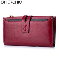 OTHERCHIC Genuine Leather Long Wallets Vintage Women Stylish Wallet Fashion Card Holders Clutch Purses Female Purse 7N02 35