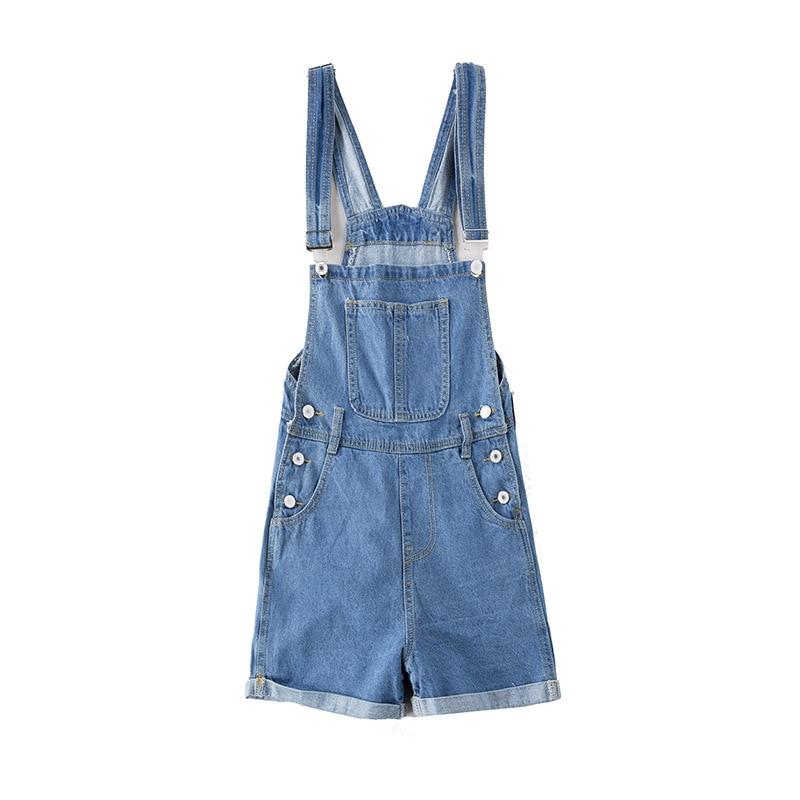 JTCWEAR Young Lady Cute Bib Dungarees Woman Spaghetti Denim Shorts Suspenders Jumpsuits Distressed Jeans Overalls Shortalls 419