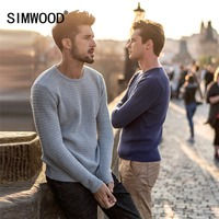 SIMWOOD Brand Sweater Men 2019 Spring Winter Fashion Pullover Men Knitted Sweater Slim Fit Male Plus Size High Quality 180374