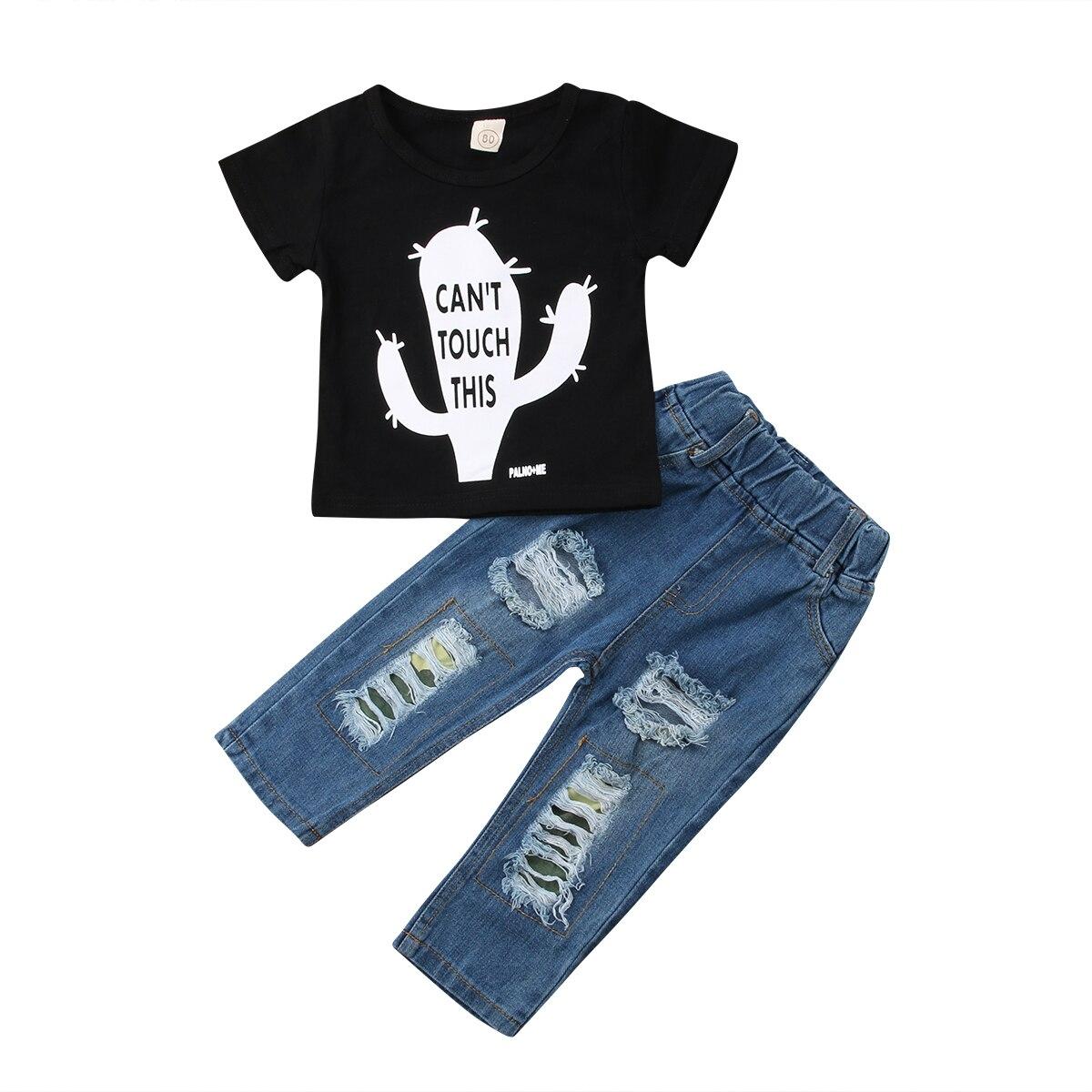 Boys T-Shirt Tops Short Sleeve Cotton Denim Ripped Hole Jeans Pants 2Pcs Toddler Kids Baby Boy Clothes Sets 6M-6T