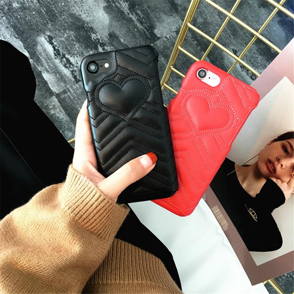 POEME CREATION For iPhone 7 8 Women Love Hearts Phone Case for iPhone 6 6splus 7plus Bag Cover Housing Sheepskin PU Free Ship