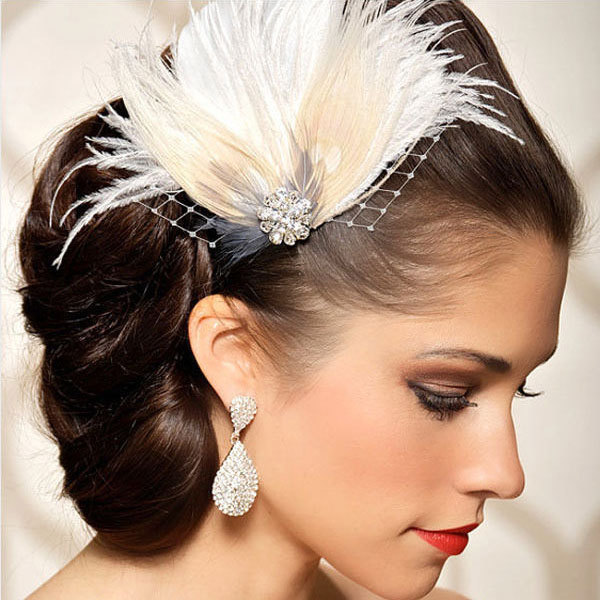 new wome white feather bridal headpiece wedding hair clip hair accessory bobby pin fascinator free shipping
