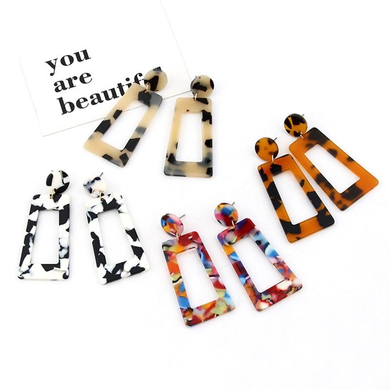 Acrylic acetate board earrings 7 color hollow large earrings exaggerated pendant earrings for women wedding jewelry W341-W347
