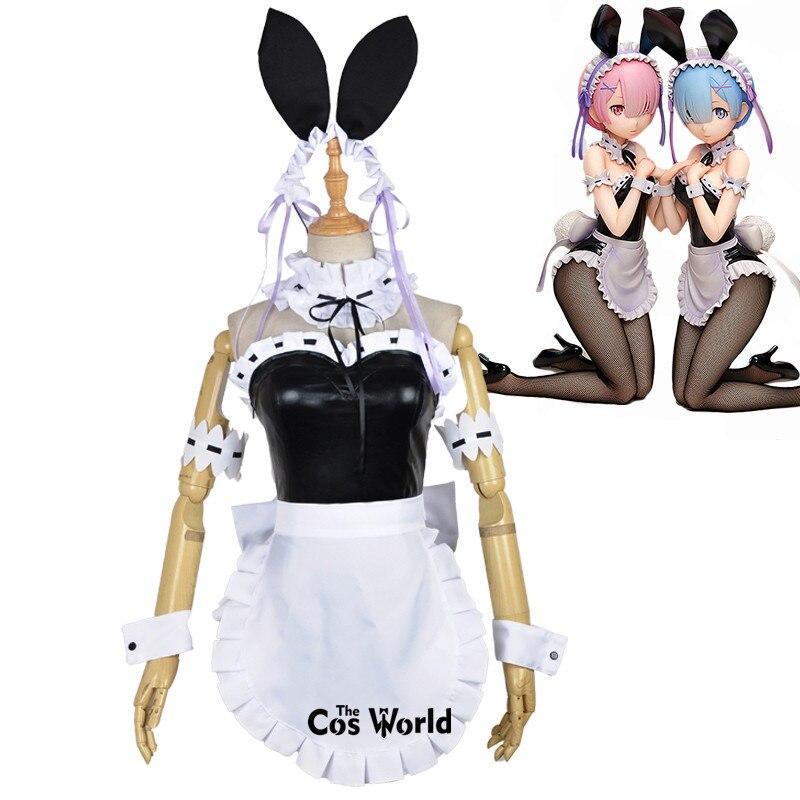 Re Zero Kara Hajimeru Isekai Seikatsu Ramu RAM Remu REM Bunny Girl Maid Apron Dress Uniform Outfit Anime Cosplay Costumes