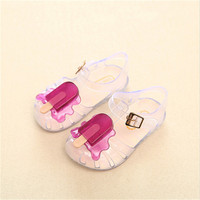 Summer Soft Soled Breathable Jelly Shoes Lovely Ice Cream Pattern Infant Toddler Shoes Candy Colors