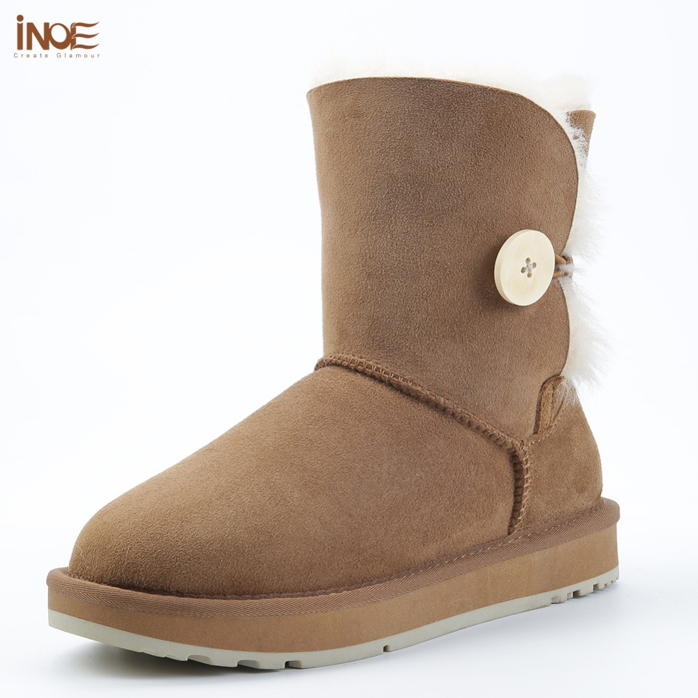 INOE Real Sheepskin Suede Leather Women Short Winter Snow Boots With Button Wool Fur Shearling Lined