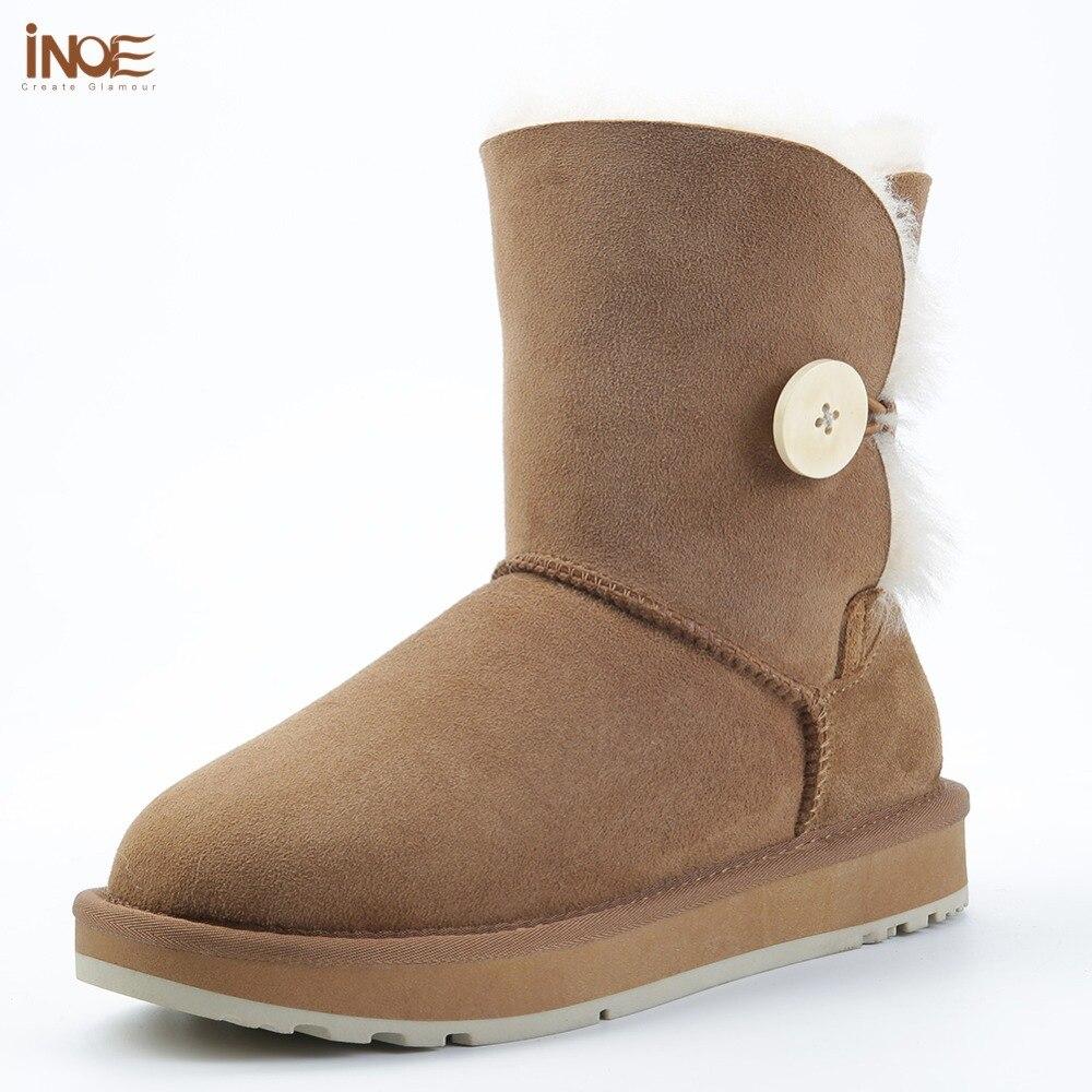 INOE real peau de mouton cuir femmes enfant daim court hiver bottes de neige avec bouton laine fourrure doublé femme chaussures d'hiver noir marron