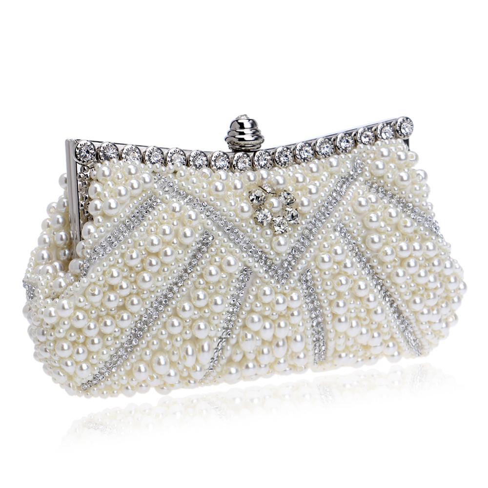 Beaded Women Evening Bags Rhinestones Metal Day Clutches Handbags With Chain For Wedding Bridal Clutches Evening Dress Bag