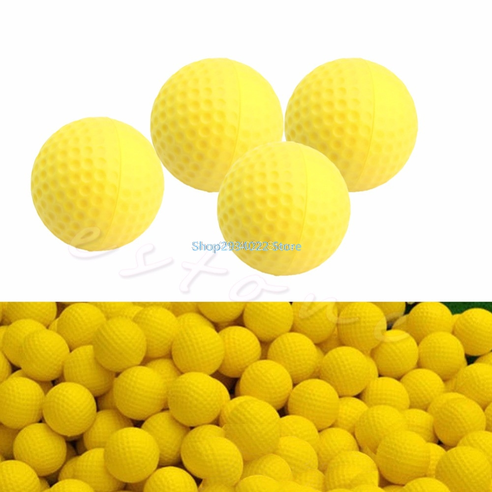 OOTDTY 10Pcs PU Foam Golf Balls Yellow Sponge Elastic Indoor Outdoor Practice Training Drop Shipping Support