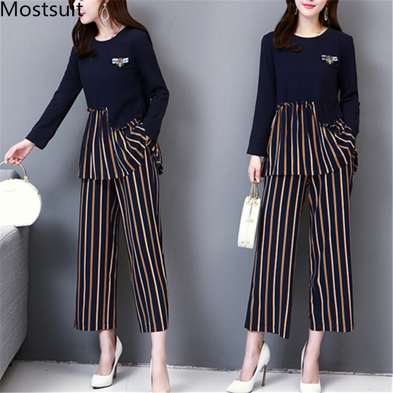 M-5xl Dark Blue Autumn Striped Patchwork Two Piece Sets Women Plus Size Long Sleeve Tops And Wide Leg Pants Office Elegant Suits 25