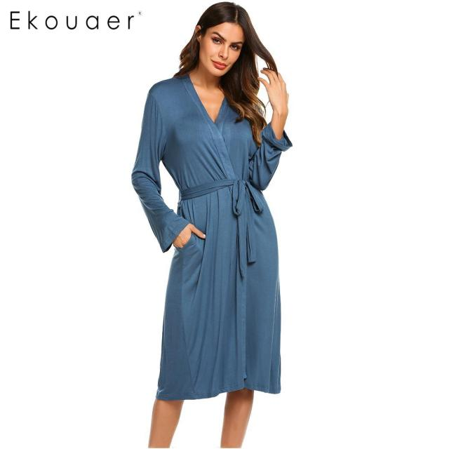 Ekouaer Women Sleep Robes Nighties Long Sleeve Solid Kimono Robe Nightgown  Spa Bathrobe Sleepwear Dressing Gown Female Homewear ac5190655