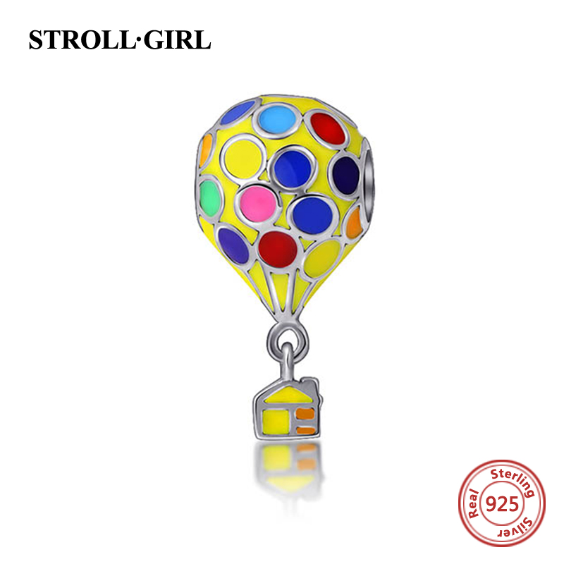 Fit Authentic pandora charms Bracelets Silver 925 color enamel BalloonBeads Sterling-silver-Jewelry Pendant Lover women gifts