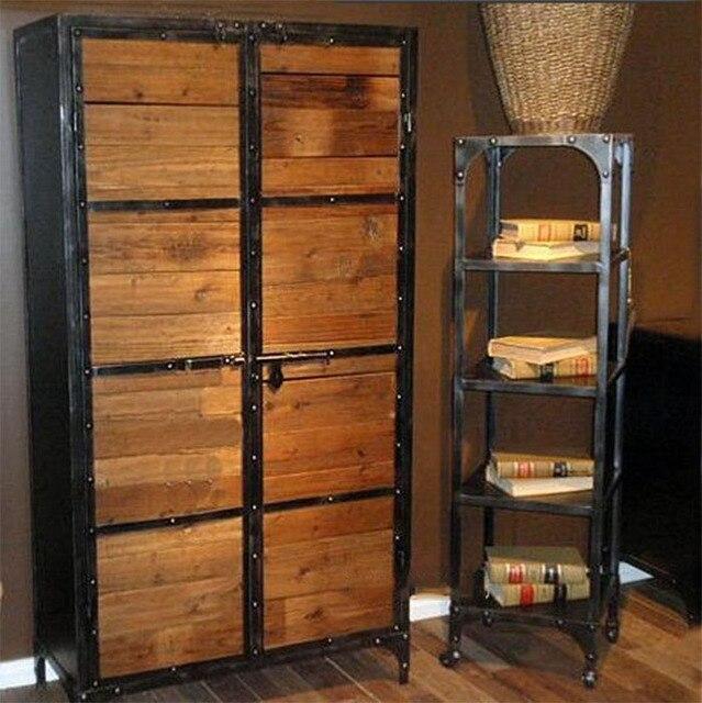 antieke smeedijzeren houten boekenkast entree kast staal kabinet rekken lockers showcase