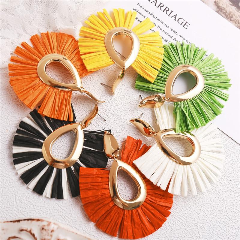 AY Big Tassel Raffia Drop Earrings for Women Girls Za 2019 Pendientes Jewelry Buy Raffia Drop Earrings Get Shell Earrings in Drop Earrings from Jewelry Accessories