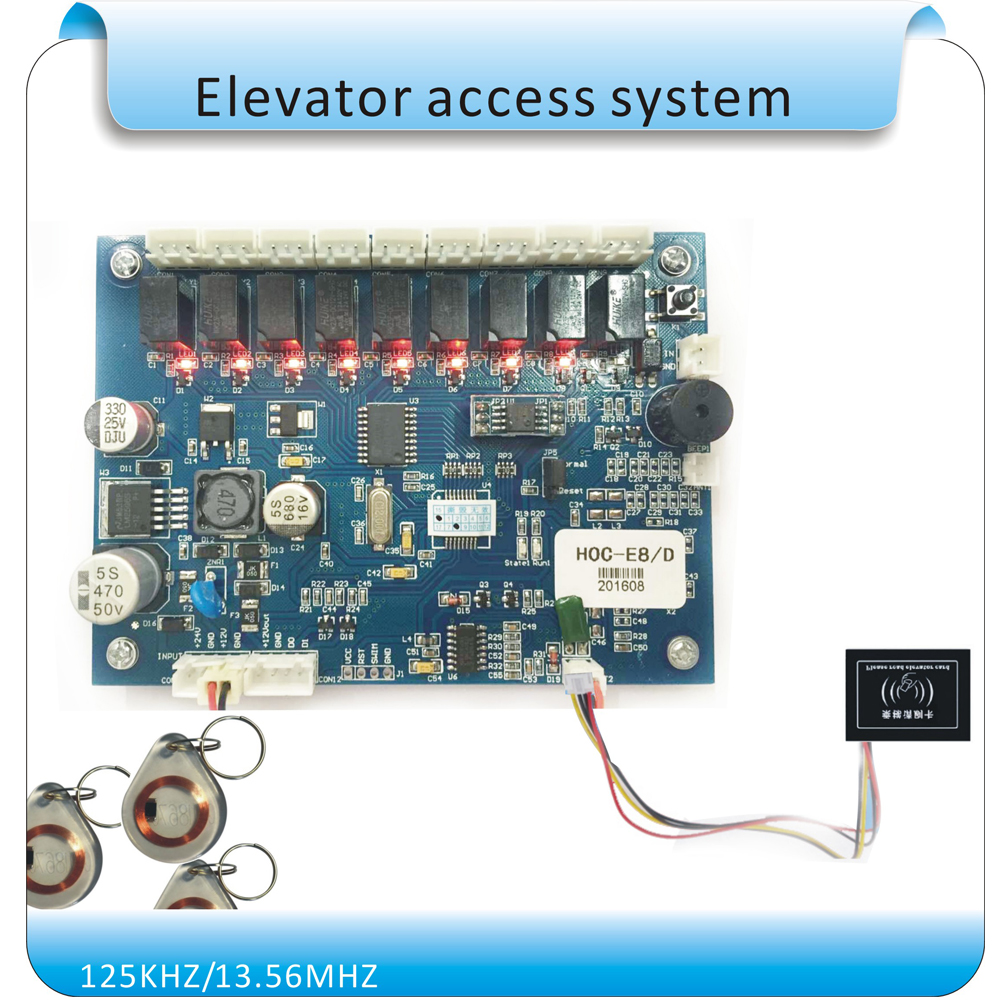 все цены на  125KHZ RFID Hierarchical control Elevator Lift Controler Panel No Software Security up&dow 8 floors RFID Lift Controller board  онлайн
