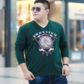 Бесплатная доставка 2016 мужская плюс размер одежды осень V-образным Вырезом хлопок футболки жира мультфильм печати с длинными рукавами Футболки 2xl-7xl 2 цветов