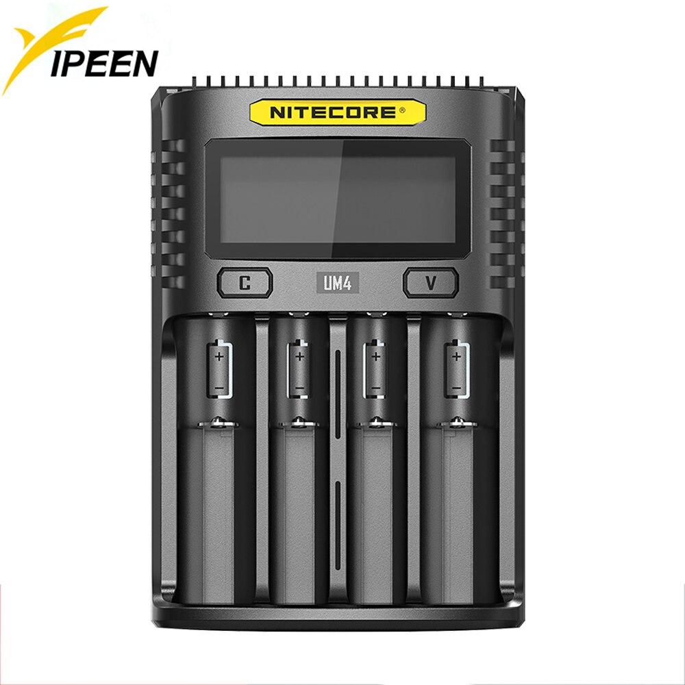 Nitecore UM4 USB Четыре слота устройство быстрой зарядки Intelligent Circuitry Global Insurance Li-Ion AA AAA 18650 14500 16340 26650 17350 зарядное устройство