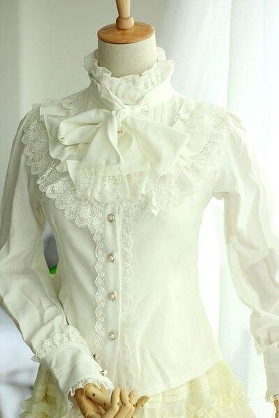 Blouse Lolita gothique synthétique en dentelle blanche pour femmes robe Lolita sans manches imprimé fleur de prunier!