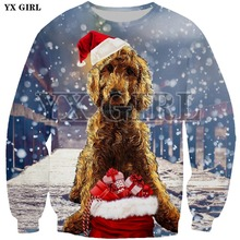 YX Girl Christmas Gift Sweatshirt Female Men Santa Animal Dog/Cat/Deer 3d Print Pullover Unisex Cartoon Funny Streetwear Tops